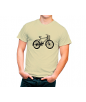 Camiseta algodón orgánico con dibujo bicicleta retro.