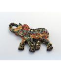 Imán de mosaico elefante multicolor