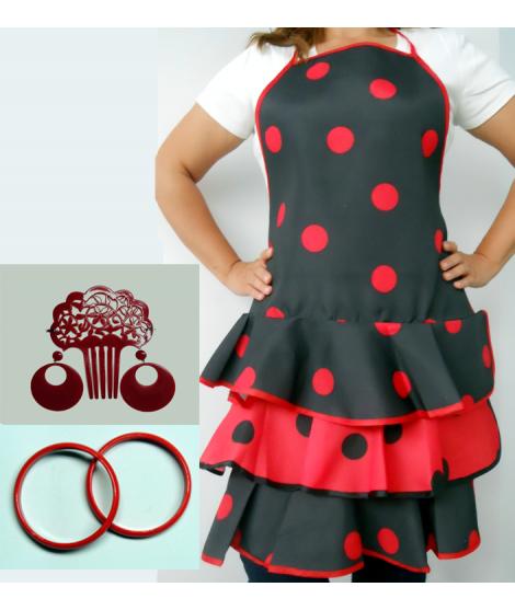 Conjunto flamenco Nº 2 compuesto por delantal  peineta pendiente y pulseras