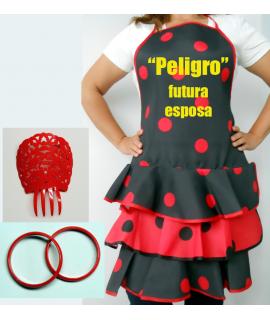 Conjunto flamenco Nº 3 compuesto por delantal  peineta y pulseras y estampación