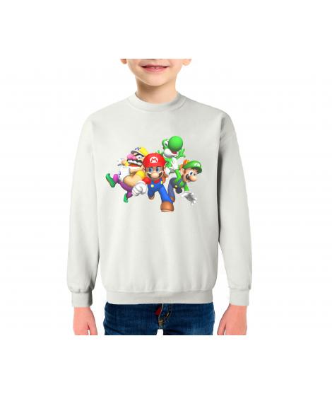 Super Mario Infantil Sudadera Algodón Color Blanco