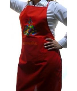 Delantal rojo con dibujo bailarina de colores