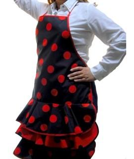 Delantal flamenca negro con lunares rojos