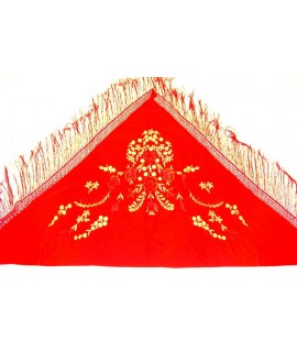 Manton rojo  bordados color oro
