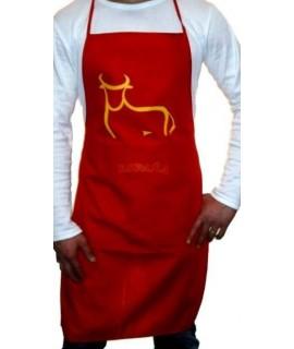 Delantal personalizados  rojo con dibujo toro picassiasno