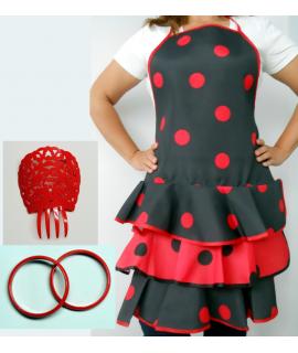 Conjunto flamenco Nº 1 compuesto por delantal peineta y pulseras