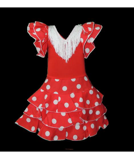 Vestido de sevillanas infantil rojo con lunares blancos