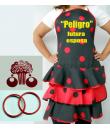 Conjunto flamenco Nº 4 compuesto por delantal, peineta, pendiente, pulseras y estampado.