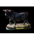 toro resina con peana y placa de España. Tamaño 21 cm