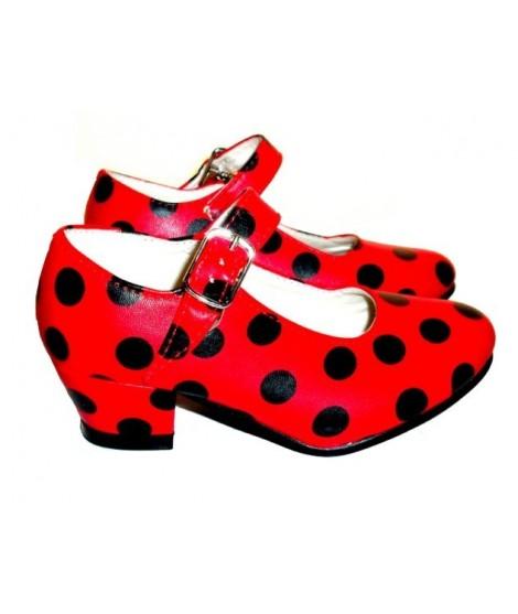 Zapato de sevillanas rojo lunares negros