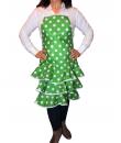 Delantal flamenca económico color verde y lunares blancos