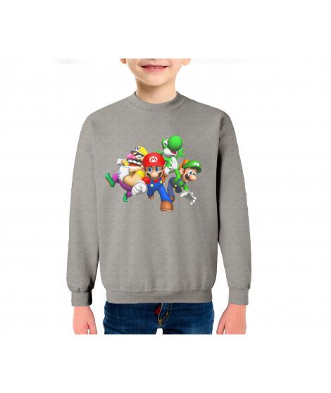 Super Mario Infantil Sudadera Algodón Color Gris Mezcla