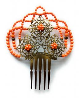 Peineta Metálica Grande Color Naranja