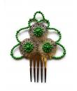 Peineta Metálica Color Verde