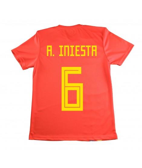 Camiseta Iniesta Réplica de España. Producto Oficial Licenciado Mundial Rusia 2018. Tallas Ajustadas, Consultar Medidas.