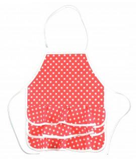 Pack Infantil Compuesto de Delantal Color Rojo Lunares Blanco, Peineta, Pulseras Y Pendientes. Talla Niña Pequeña