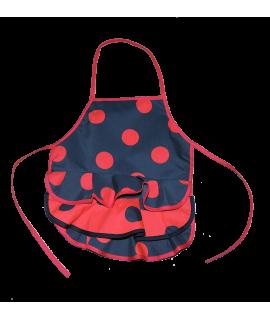 Delantal Color Negro y Lunares Rojos. Talla niña pequeña 2-6 años