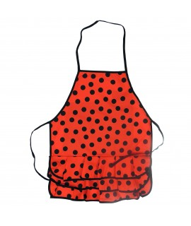Delantal Color Rojo Lunares Negros Pequeños Talla Niña Mediana, 6-12 años