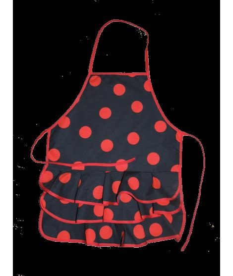 Delantal Color Negro Lunares Pequeños RojosTalla Niña Mediana, 6-12 años