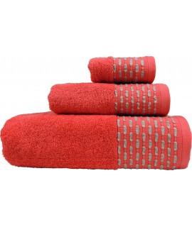Juego de Toallas de Algodón 100%, con un Grosor de 450 Gramos/m2, una Toalla de baño, una de Lavabo y tocador. Rojo.