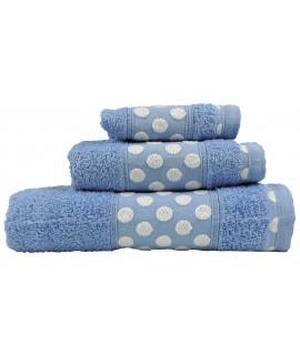 Juego de Toallas de Algodón 100% y de 450 Gramos/m2, una Toalla de baño, una de Lavabo y tocador. Color Celeste