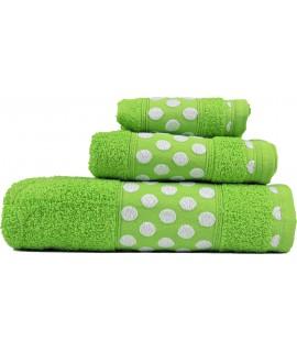 Juego de Toallas de Algodón 100% y de 450 Gramos/m2, una Toalla de baño, una de Lavabo y tocador. Color Verde Lima