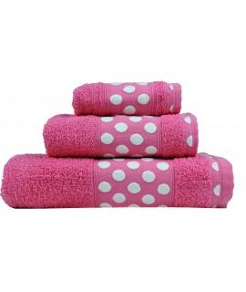Juego de Toallas de Algodón 100% y de 450 Gramos/m2, una Toalla de baño, una de Lavabo y tocador. Color Fucsia