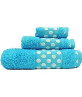 Juego de Toallas de Algodón 100% y de 450 Gramos/m2, una Toalla de baño, una de Lavabo y tocador. Color Turquesa