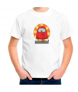 Camiseta Para Niño Personajes Among Us. Estampado videojuego manga corta.