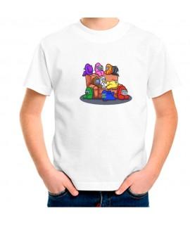 Camiseta Para Niño Among Us Silencio Estampado videojuego manga corta.