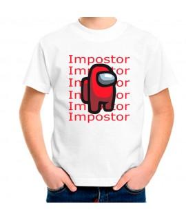 Camiseta para niño among us Gaming Impostor. Manga corta diseño estampado ENVIO GRATIS