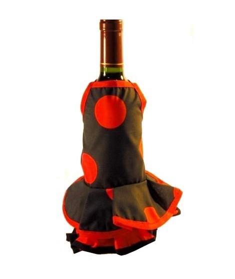 Delantal botellero negro lunares rojos