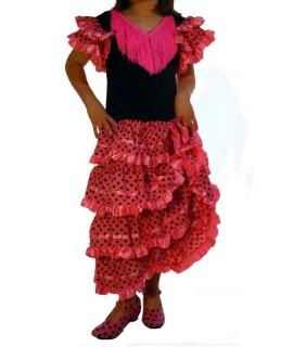 Traje de baile flamenco rosa con lunares negros
