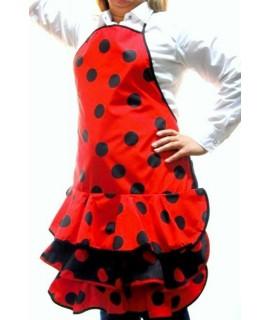 Delantal flamenca rojo lunares negro