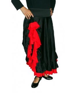 Falda negra con volantes rojos